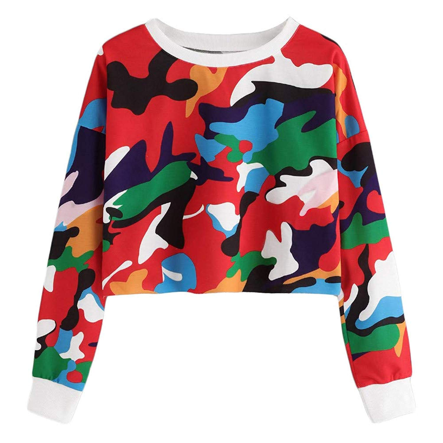 Snowfoller Colourful Camouflage Sweatshirt,Women Casual Long Sleeve Short Crop Tops Fashion Crew Neck Pullover Blouse