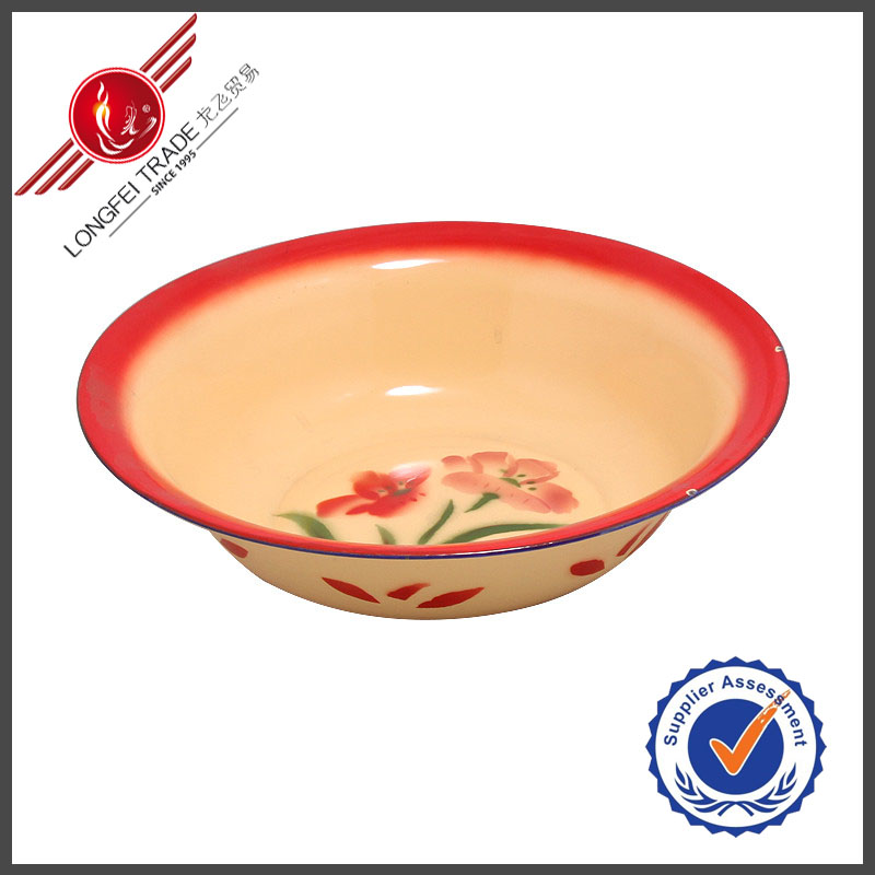 Orange Flower Decal Porcelain Flat Round Plate Made In China