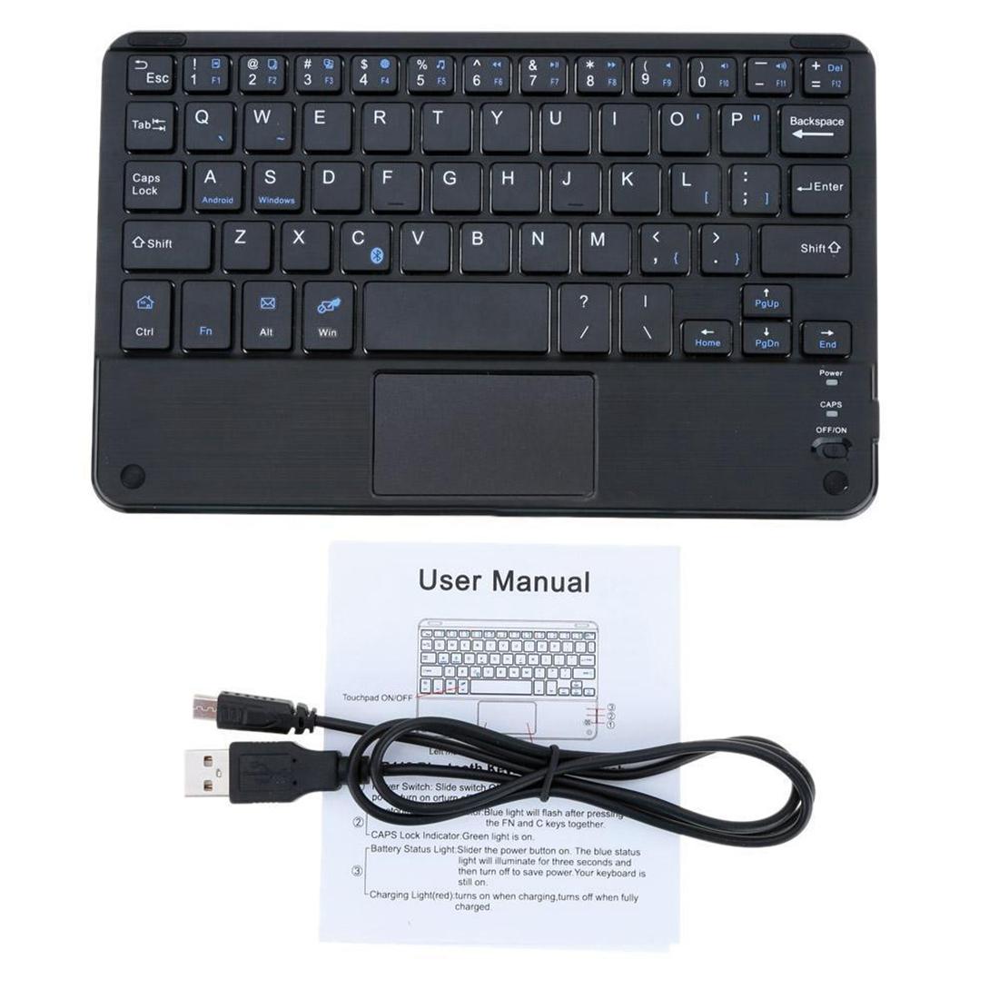 d54e119e35f Windows PC 59 Keys Ultra Slim Mini Bluetooth Keyboard with Touch Pad Panel  RR6V