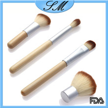 Hot sale 4 pcs makeup brushes portable soft synthetic hair bamboo handle cosmetic makeup brush set with gunny bag