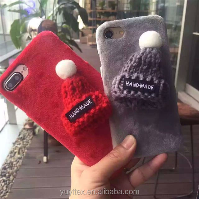 2017 Wholesale christmas hat fuzzy phone case for iphone 7/8