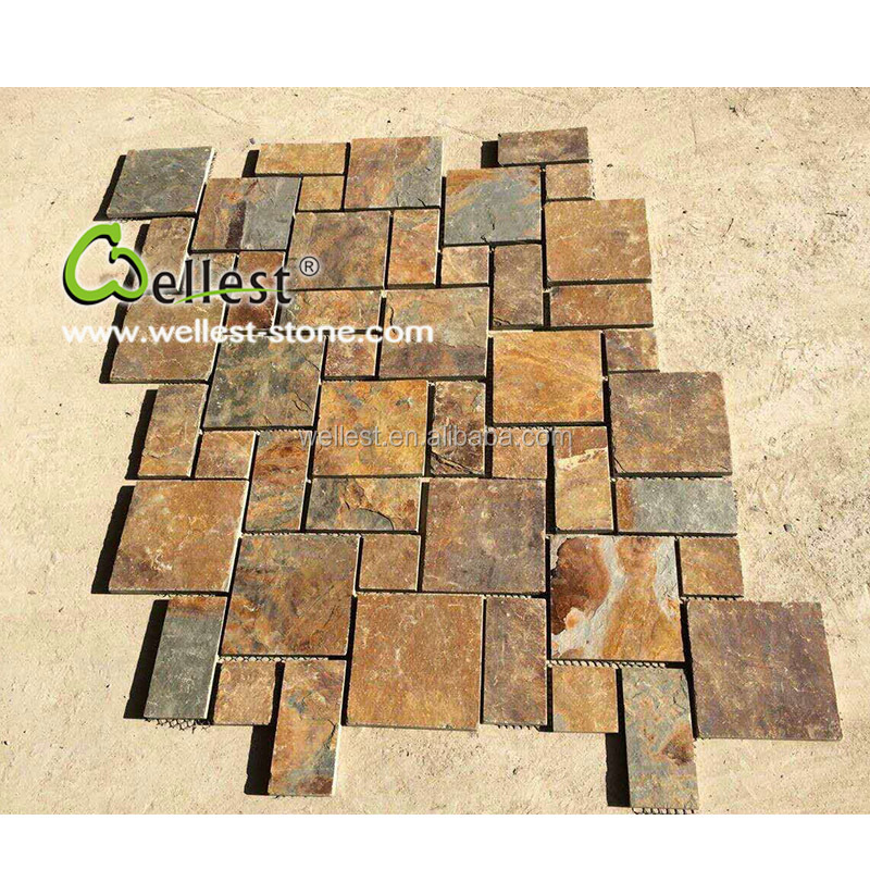 High Quality China MS027 Rusty Brown Slate Cheap Driveway Paving Stone