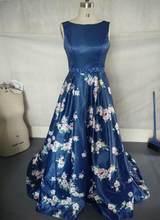 Женское платье с цветочным принтом JaneVini, синее сатиновое платье с открытой спиной для выпускного бала(Китай)