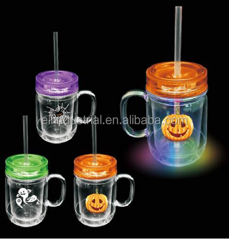 Bar Accessories Party Favor LED Flashing Cup Light Up Glowing LED Cup 19 oz Halloween light up double wall Mug with straw
