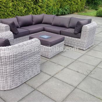 Rattan Outdoor Sofa Set Yin Yang With Small Coffee Table