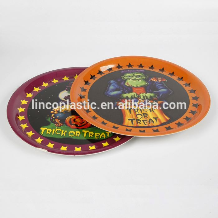 Multicolor Plastic Round Disk/plate for Halloween