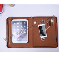 High Quality PU Leather Presentation Folder A4 Conference File Holder Profolio With Power Bank