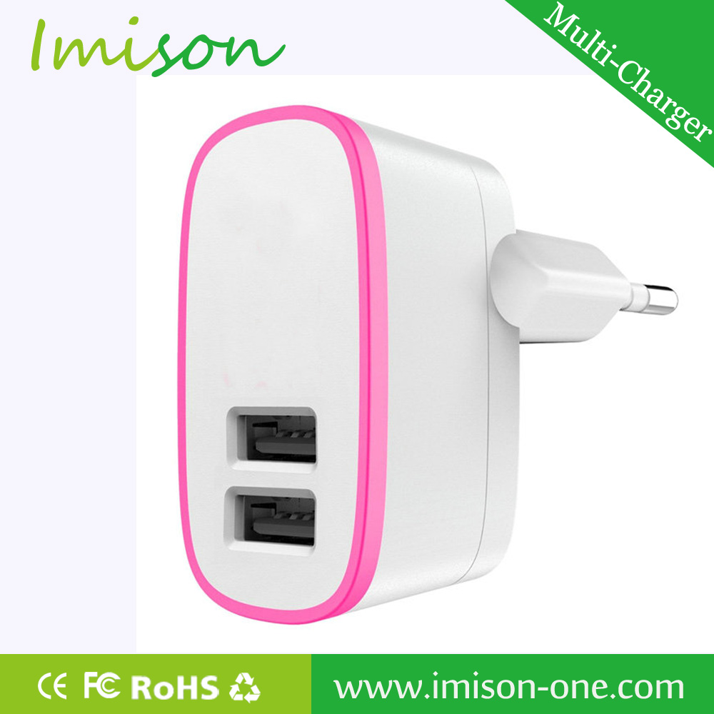 Portable universal 2port travel adaptor with usb charger
