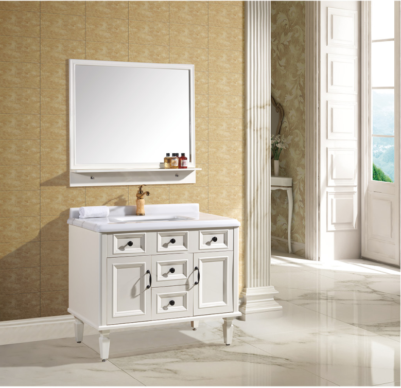 White Wash Basin Mirror & Cabinet small bathroom storage cabinet