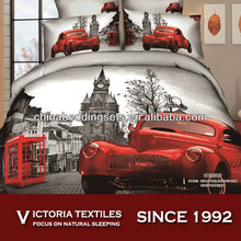 cartoon red car classic printed bedding comforter sheet set