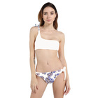 Latest design one shoulder floral printed summer two piece swimsuit bikini