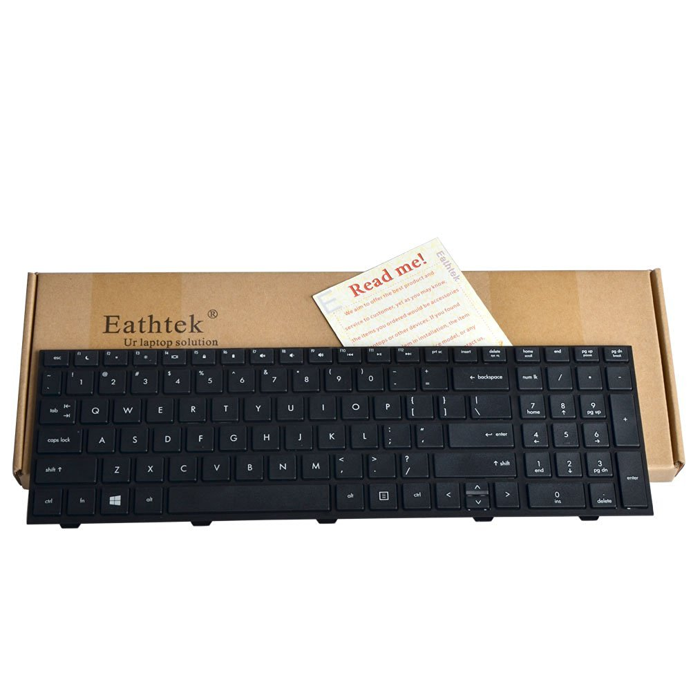 Eathtek Replacement Keyboard with Frame for HP ProBook 4540s 4545s series Black US Layout, Compatible with part# 639396-701 701548-151 NSK-CC1SW