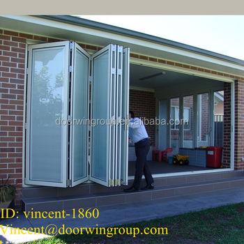 White Bi-folding Thermal Break Aluminum Door Integral Blinds Accordion Aluminum Door with Great Air & White Bi-folding Thermal Break Aluminum Door Integral Blinds ...