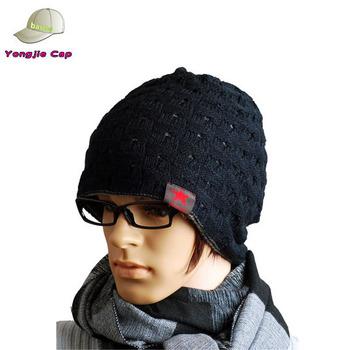 Trendy Men Reversible Beanie Crochet Skull Cap Black Hat On Sale