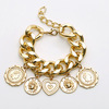 Ins European America personalized bohemian exaggerate relievo heavy chain punk bracelet cool gold coin charm bracelet