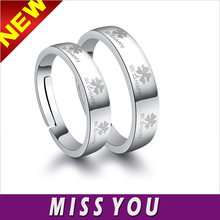 Mens Womens Solid Silver Be Happy Clover Couple Lovers Promise Ring