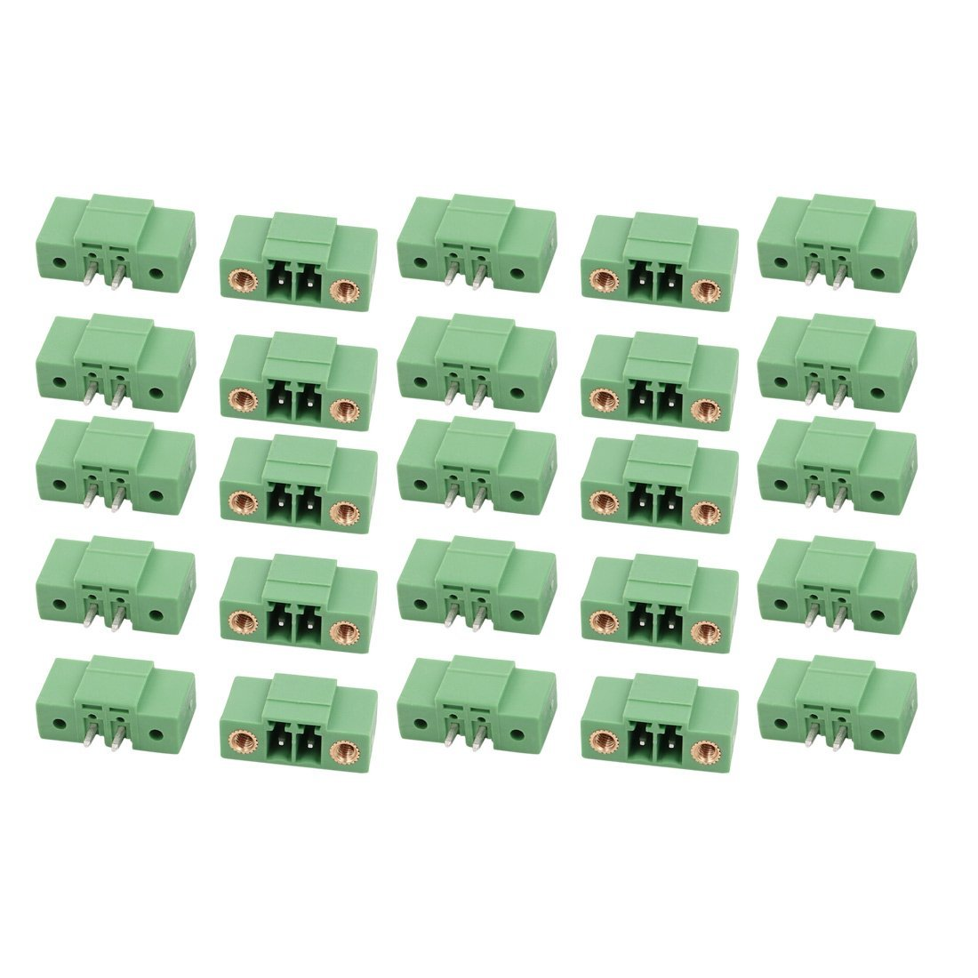 uxcell 25Pcs AC 300V 8A 3.5mm Pitch 2P Terminal Block Wire Connector for PCB Mounting Green