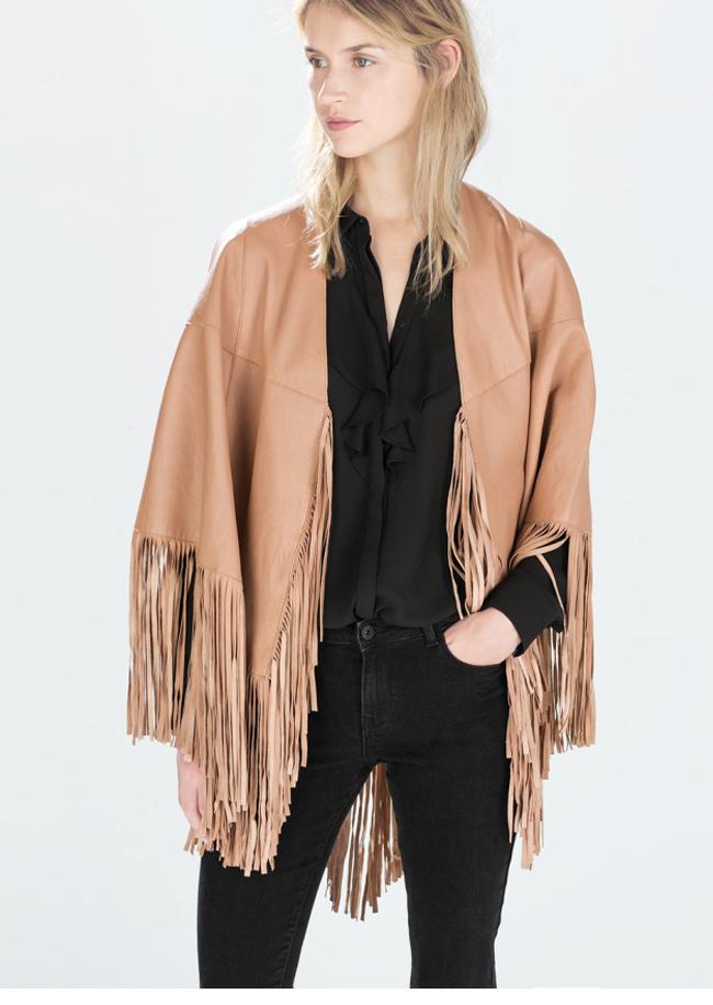 Trendy Cape Top Fashion Looks With Jeans Idea: Trendy Asymmetric Faux Leather Tassels Fringed Cloak Cape