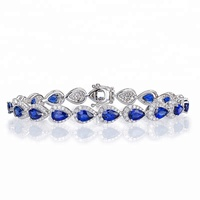 Joacii Women Fashion Sapphire Gemstone Sterling Silver Tennis Bracelets