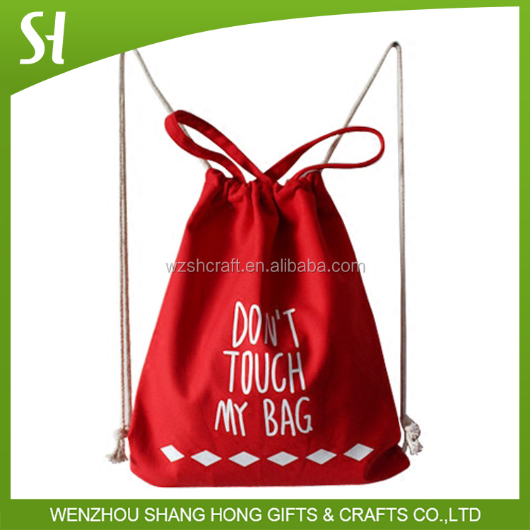 cotton rope style red canvas drawstring backpack with Bunny Ears