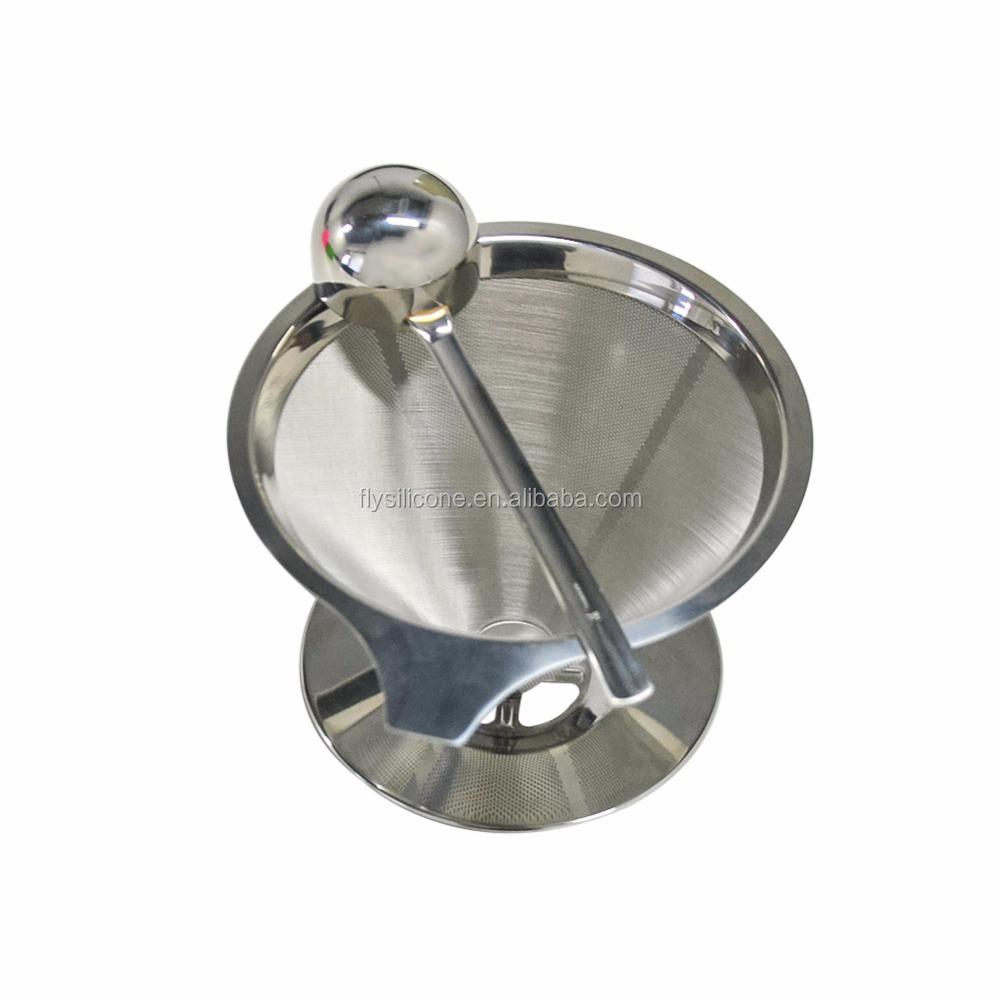 Goutteur de café en acier inoxydable, 1 pièce, filtre réutilisable et tasse unique