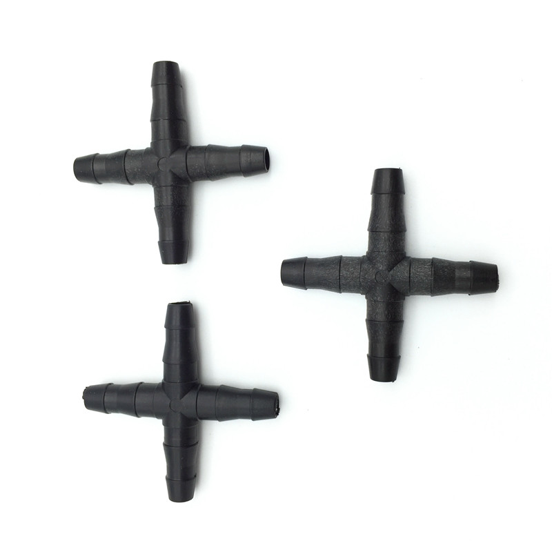20 Pcs Cross Straight For 4/7 Mm Hose 1/4 'barb Barbed Connector Threaded Garden Greenhouse Micro Irrigation Pipe Accessories
