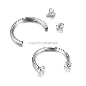 Stainless steel internally threaded septum horseshoe cheap nose ring CBB body piercing