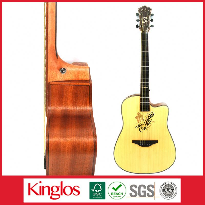 Wholesale Artistic Carving Colour Solid Wood Acoustic Guitar Made By Chinese Guitar luthier,for Guitar enthusiast (S41U-007-057)