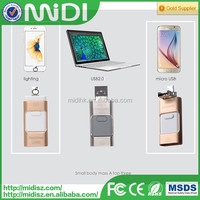Newest 3 in 1 OTG business muti-functional Flash sticker metal usb drive for iPhone for Android and computer