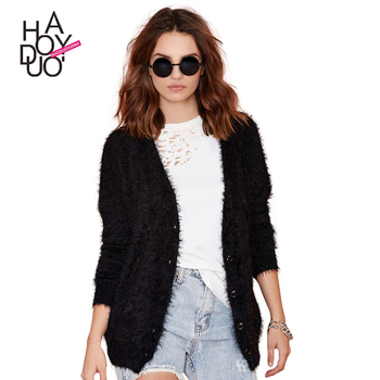 Haoduoyi Womens Black Mohair Button Front Longline Cardigan ...