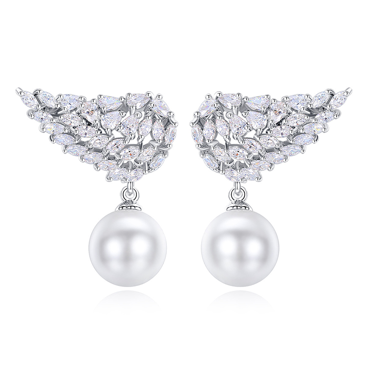 Pearl Wing Feather Pave Crystal Fashion Wholesale Copper Jewelry Design Zircon Statement Earring Stud Dainty Earrings For Women