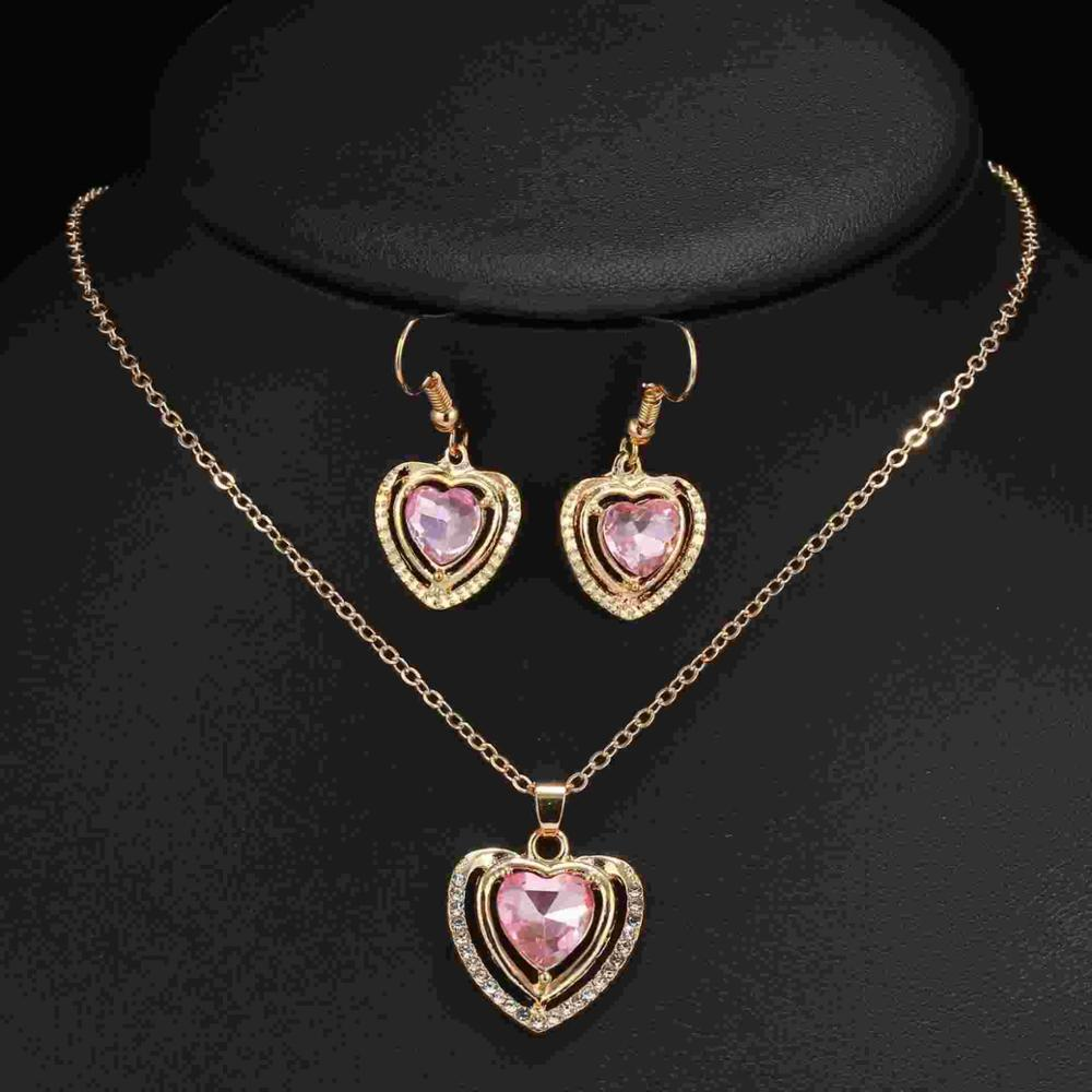 Artilady Crystal Heart Pendant Earrings ladies , necklace set jewelry <strong>trade</strong> item