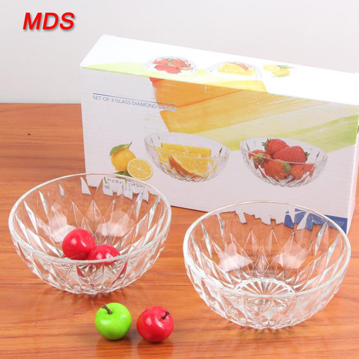 Hot sale diamond crystal glass salad bowl set for gift