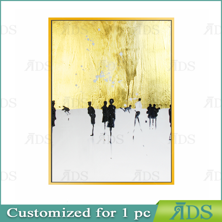 100% Hand Painted Abstract Modern Figure Oil Painting with Gold Foil