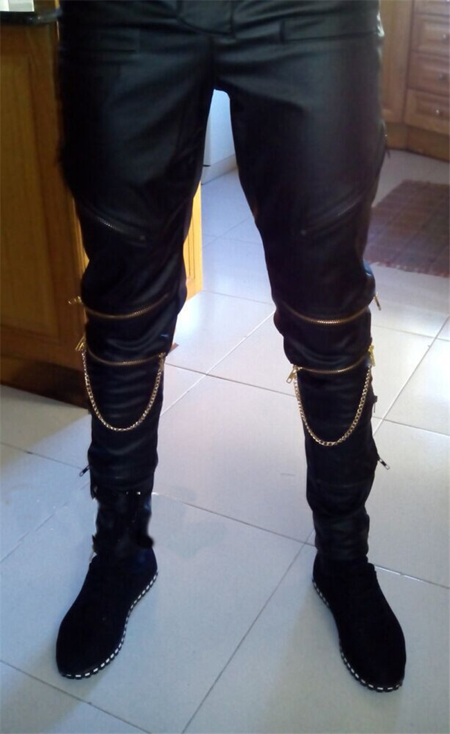f91f7e2f5ee black destroyed mens Fashion Mens Hip Hop Leather Pants With Gold Knee  Zippers PU Faux Leather Joggers Trousers Pants