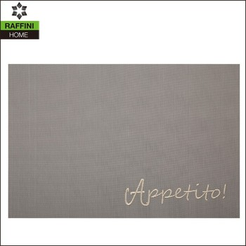 Custom Words Weaving Placemats with Embroidery, grey