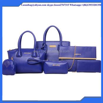 Fashion Trends Lady Handbag 6 Pcs One Set Women Big Leather Tote Bag  Shoulder Bag Girls 6a97496903598