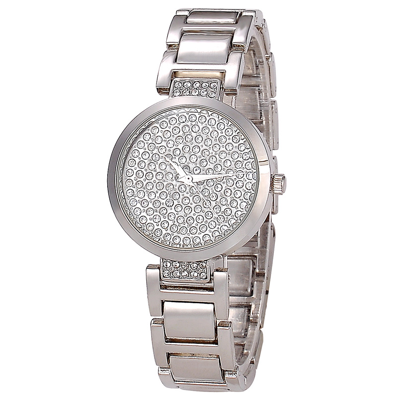 Charming Bling Bling Full Diamond Watch Gleaming Shining Gold Plated Wrist Watch Stainless Steel Case Back Watch