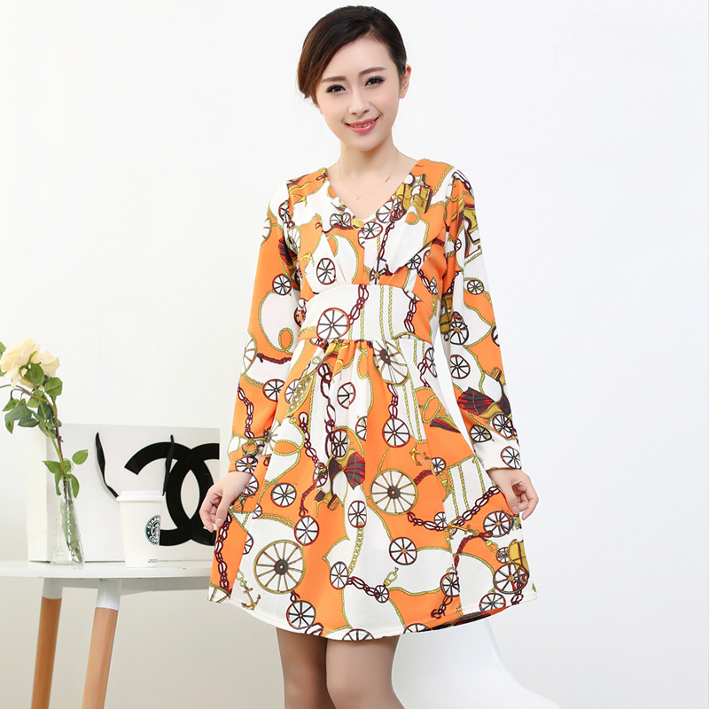 autumn winter new style hot fashion women vintage black long sleeve yellow floral straight dress. Black Bedroom Furniture Sets. Home Design Ideas