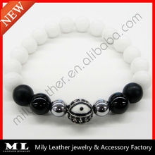 2014 New Eye Black Onyx Matte White Coral Bead Bracelet MLAS-020
