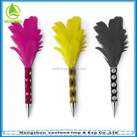 High quality feather quill pen,glitter feather bird pen,peacock feather pen wholesale