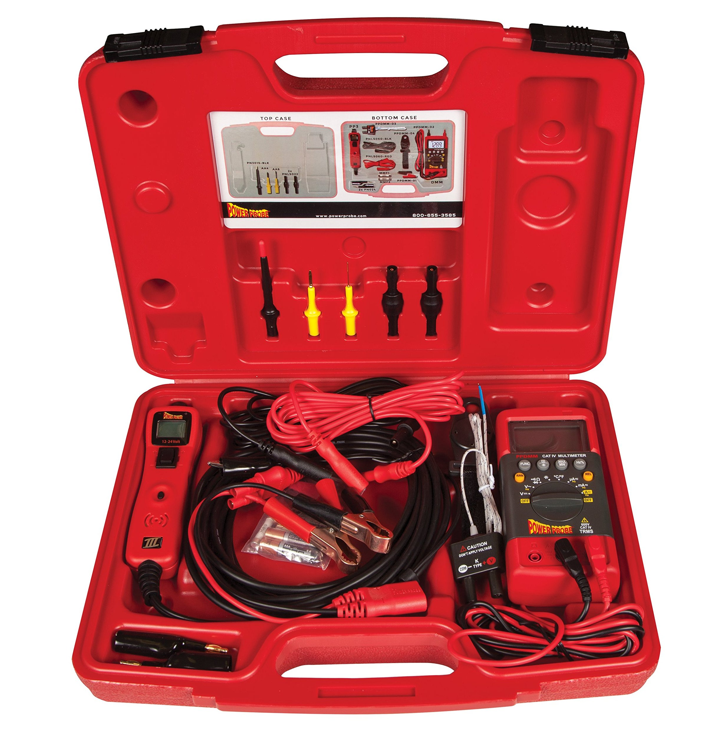 POWER PROBE Professional Electrical Test Kit - Red (PPROKIT01) Includes Power Probe III with PPDMM and Accessories [Car Automotive Diagnostic Test Tool Power Up Electrical Components Digital Volt Meter Circuit Tester LCD Screen Flashlight Short Circuit Indicator Audible Tone Measures AC/DC Voltage