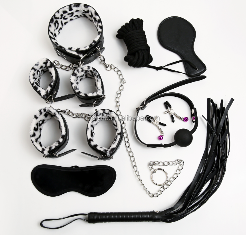 Special Design Restraint Sex Suit 9pcs Rope/Cuffs/Whip/Paddle/Clip/Ball Gag/Mask/Collar For Adult