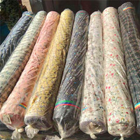 cheapest price polka dot flower design printed chiffon fabric stocklot linen style chiffon fabric