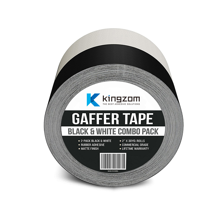 Heavy Duty Matt Cloth Gaffer Tape with White and Black Colour No Residue Perfect Alternative to Duct Tape