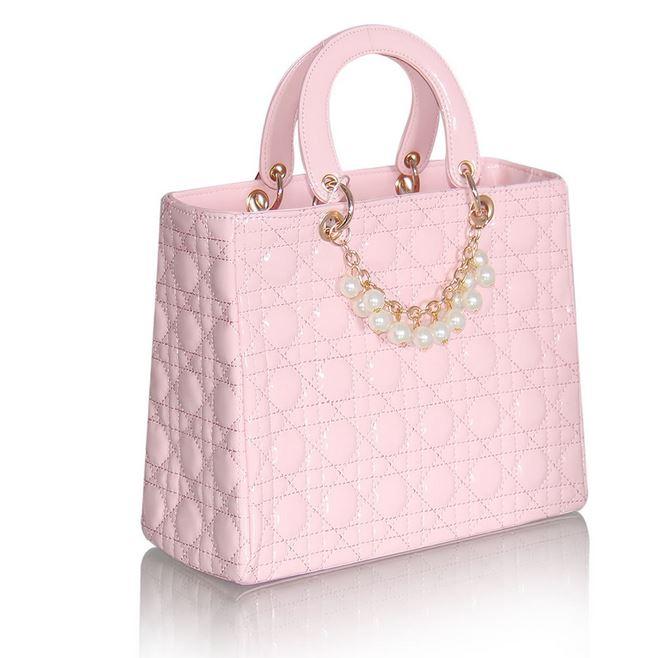 Get Quotations · Elegant Diana Pearl Bags High Quality Women Leather Handbag  Designer Classic Plaid Bags White Ladies Clutch 363282baa3f27
