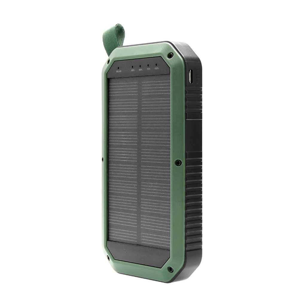 Solar Charger, Portable 8000mAh 3 USB Solar Battery Charger Power Bank Phone Charger with Carabiner and LED Lights
