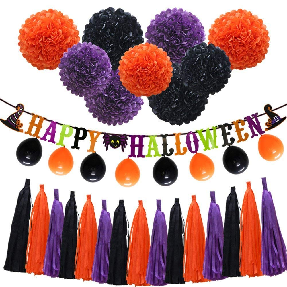 "Halloween Orange Purple Black Party Decorations, ""Happy Halloween"" Banner, Balloons, Tissue Paper pom poms Flowers, Tassel DIY Party Garland, Birthday Party, Baby Shower, Festival"
