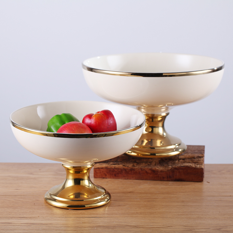 Exquisitely made factory production  ceramic fruit bowl Chinese bowls ceramic bowl ceramic gold basin
