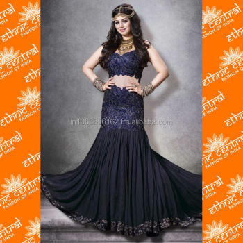 ETHNIC CENTRAL's indian bridal anarkali salwar kameez suits with long sleeves latest 2014 designs at wholesale price in surat in